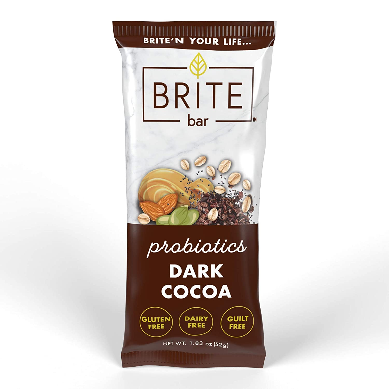 BRITE bar, Gluten & Dairy Free bars, Probiotics, Gut Health, Plant-Based Foods, Digestive & Immune Support, Superfood Snack (Dark Cocoa, 6 Bars)