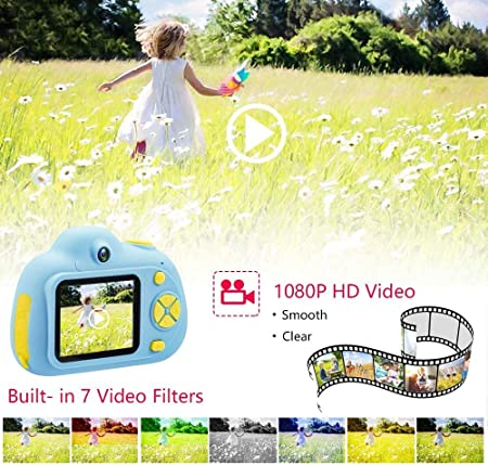 Kamera 8 MP Kamera 4X Dual-Linse Blau ToyZoom 1080P HD Baby-Kamera 2 Zoll Geschenk f/ür Kinder digital LCD-Display Selfie
