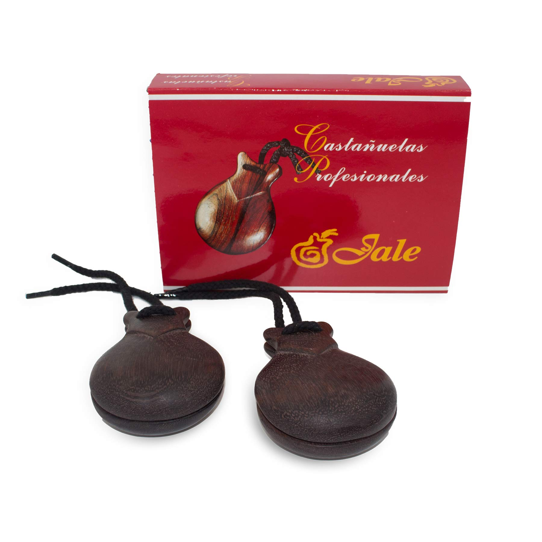 Ole Ole Flamenco Castanets Jale Wood Professional Authentic Brown Granadillo Wood Flamenco Spanish Castanets Castañuelas de Madera Granadillo Marron Size T-6 Woman Adult by Jale Castanets