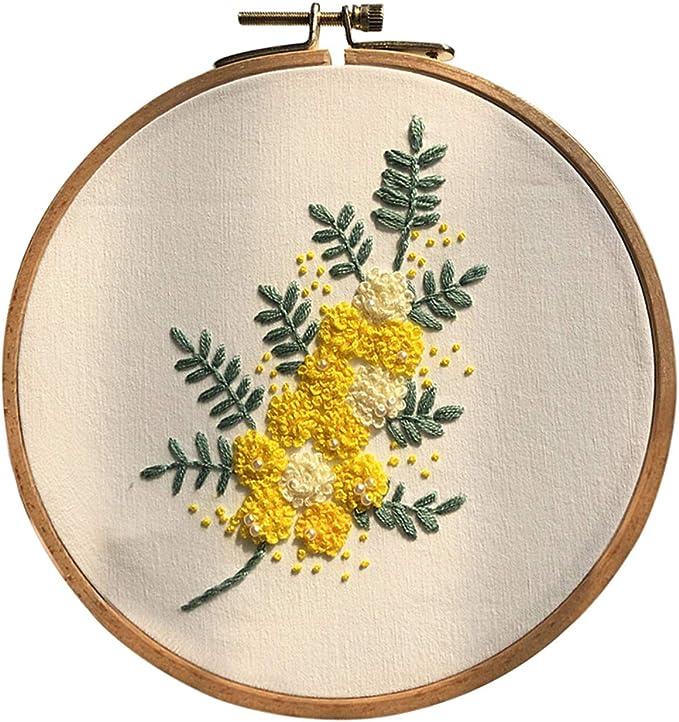 Gamma completa di kit da ricamo con fantasie fili colorati e aghi cerchi in bamb/ù tipo A include vestiti da ricamo con motivo floreale