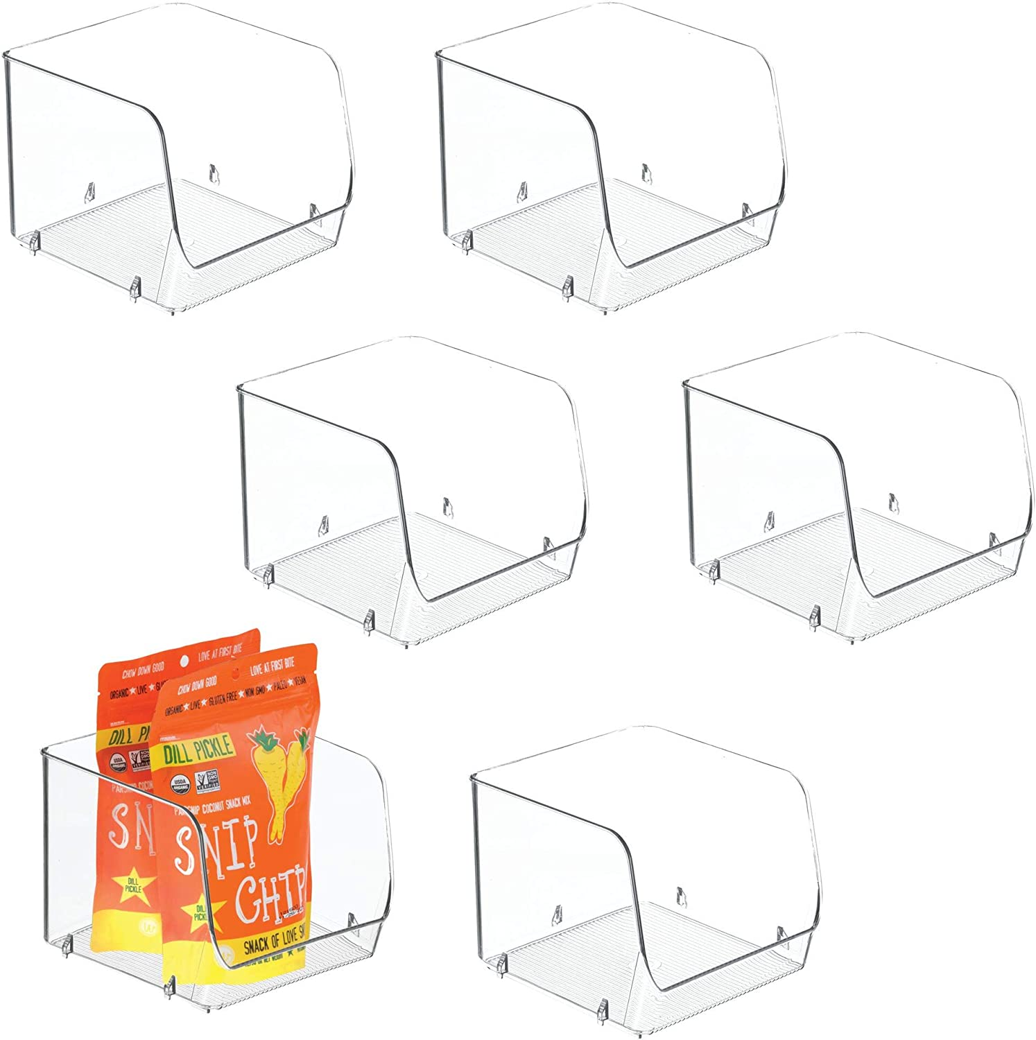 iDesign Linus Stacking Organizer Bins for Kitchen, Pantry, Office, Bathroom - Set of 6, Medium-Clear