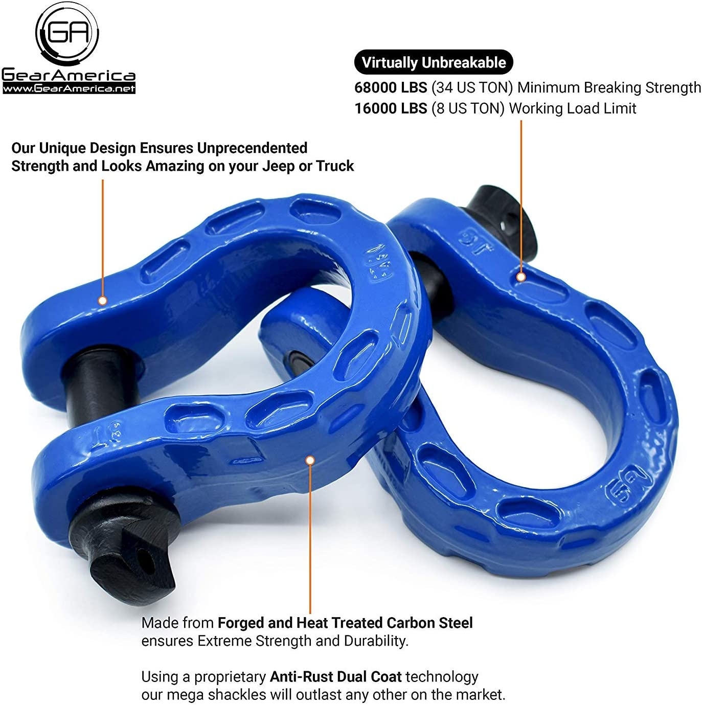 40T Red 80,000 lbs GearAmerica UBER D Ring Shackles with Anti Theft Lock Strength 2PK UBERLock Security Pin 7//8 Connect Tow Strap or Winch Rope for Off-Road Recovery Washers Tow Rings