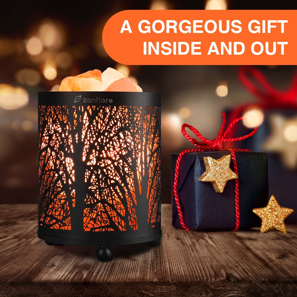 Natural Himalayan Salt Lamp, Zanflare Air Purifying Pink Salt Rock Lamp Night Light with Forest Design Metal Basket,Dimmable Touch Switch, Holiday Gift by Zanflare (Image #4)