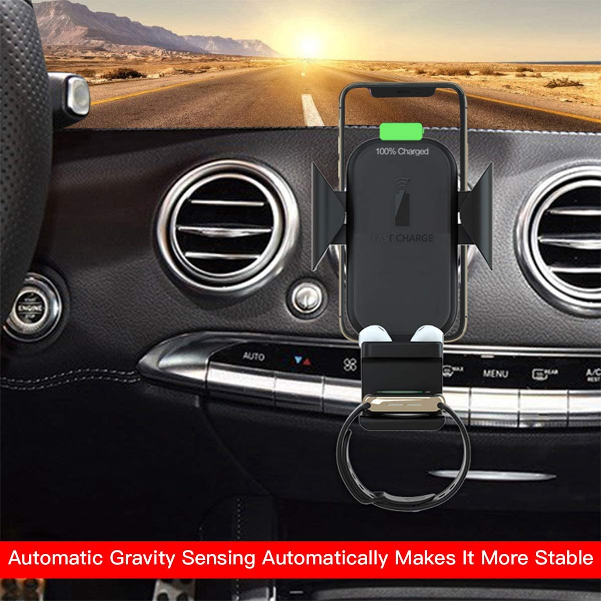 3 in 1 Qi Wireless Car Charger Air Vent Fast Wireless Charging Holder Car Phone Mount for Apple Watch//Airpods//iPhone 11 Pro Max//X//XR//XS Max and Samsung Galaxy S10//S10 Plus Note9//S9//S8//Note 10 Plus