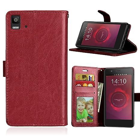 Qiaogle Teléfono Case - Funda de PU Cuero Billetera Clamshell Carcasa Cover para BQ Aquaris E5 / E5s / E5 HD / E5 FHD (5.0 Pulgadas) - DK05 / Marrón ...