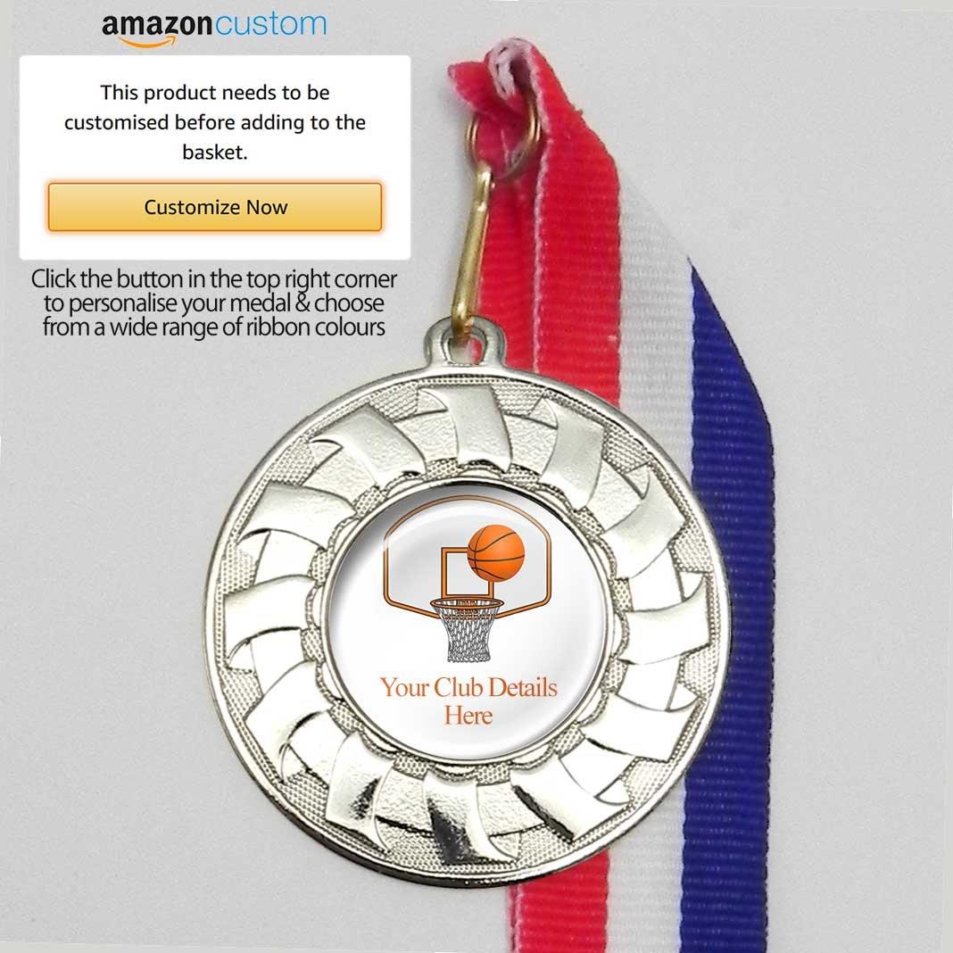 10 medallas de baloncesto personalizables en cintas, All Silver ...