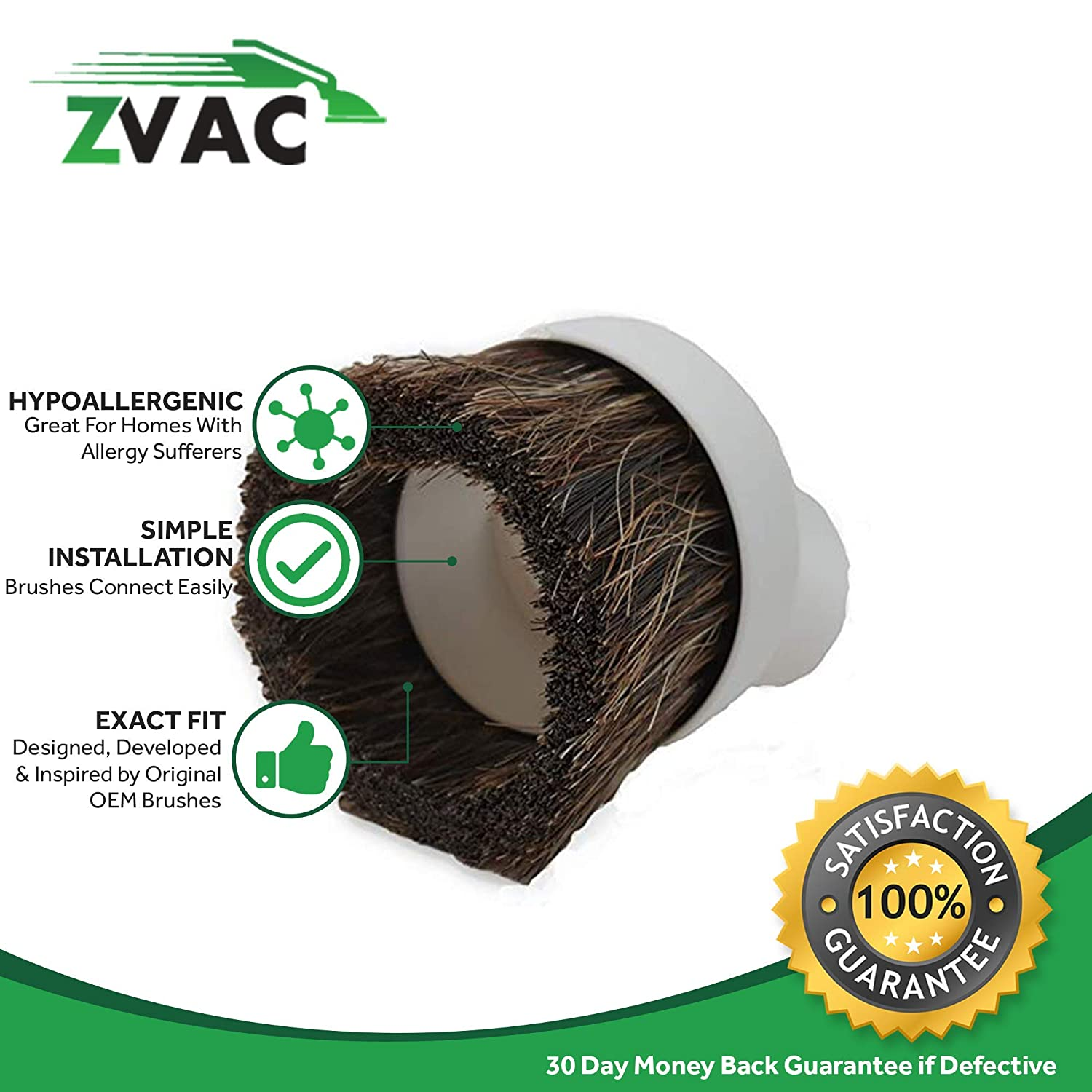 ZVac Compatible Dusting Brush Replacement for All Vacuums with 1 /& 1//4 Fitting//Attachments ZVacDustBW