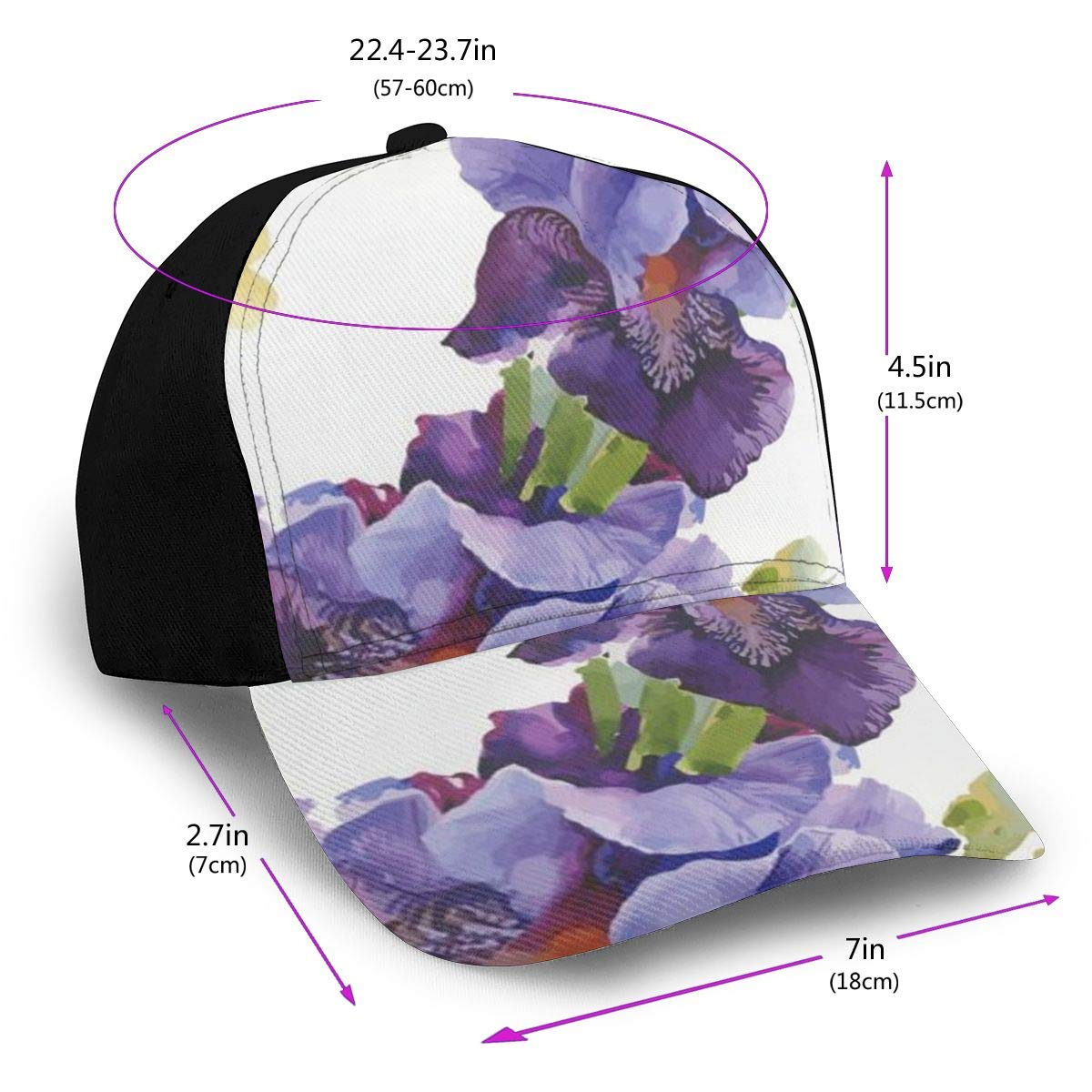 Purple Floral Summer Baseball Caps for Men and Women with Adjustable Snapback Strap
