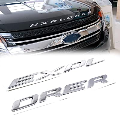 1 Set Sporty Chrome Silver Front Hood Fender 3D Letters EXPLORER Car Stickers For Ford 2011-2020: Automotive