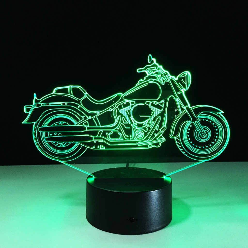 WBYD 3D Night Light Visualization Glow 7 Color Change USB Touch Button and Intelligent Remote Control Desk Table Lighting Nice Gift Home Office Decorations Toys (Motorcycle)