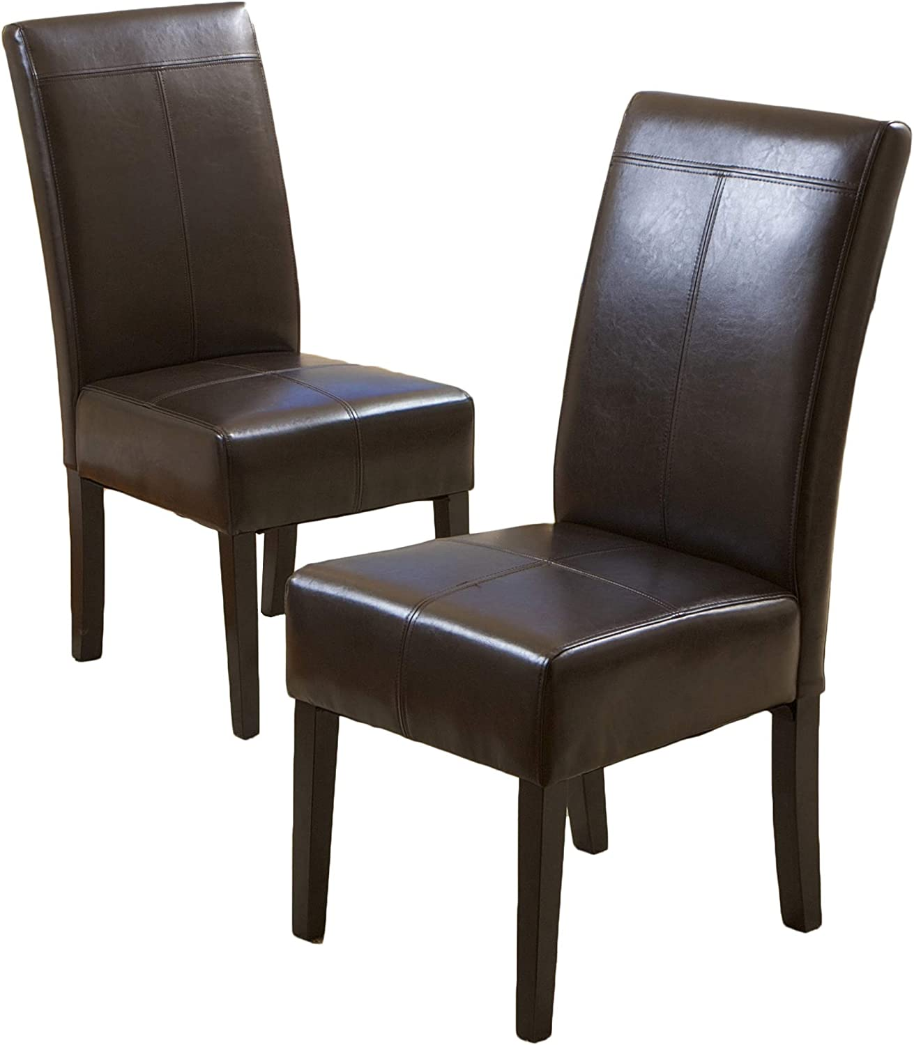 Best Selling Chocolate Brown T-Stitch Leather Dining Chair, 2-Pack Renewed