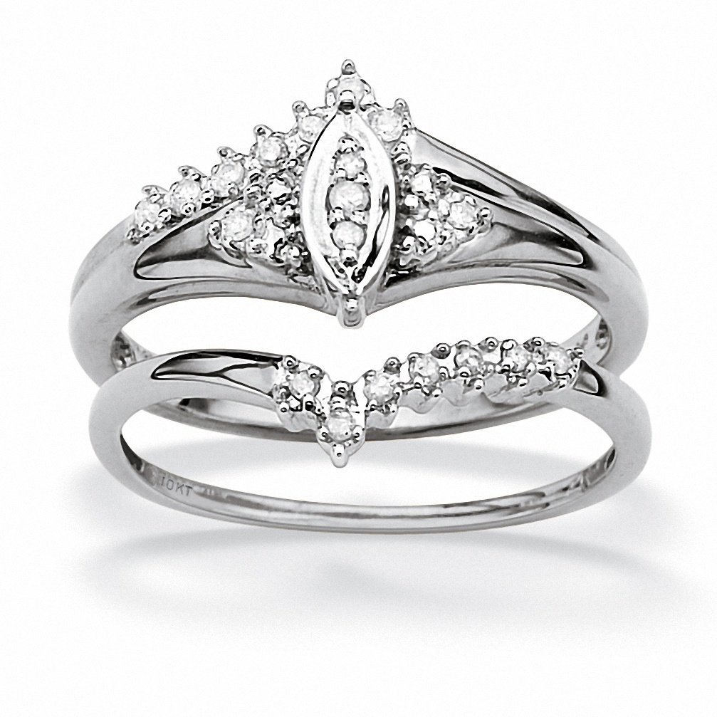 White Diamond 10k White Gold Marquise Bridal Engagement Ring Set (.10 cttw, GH Color, I3 Clarity)