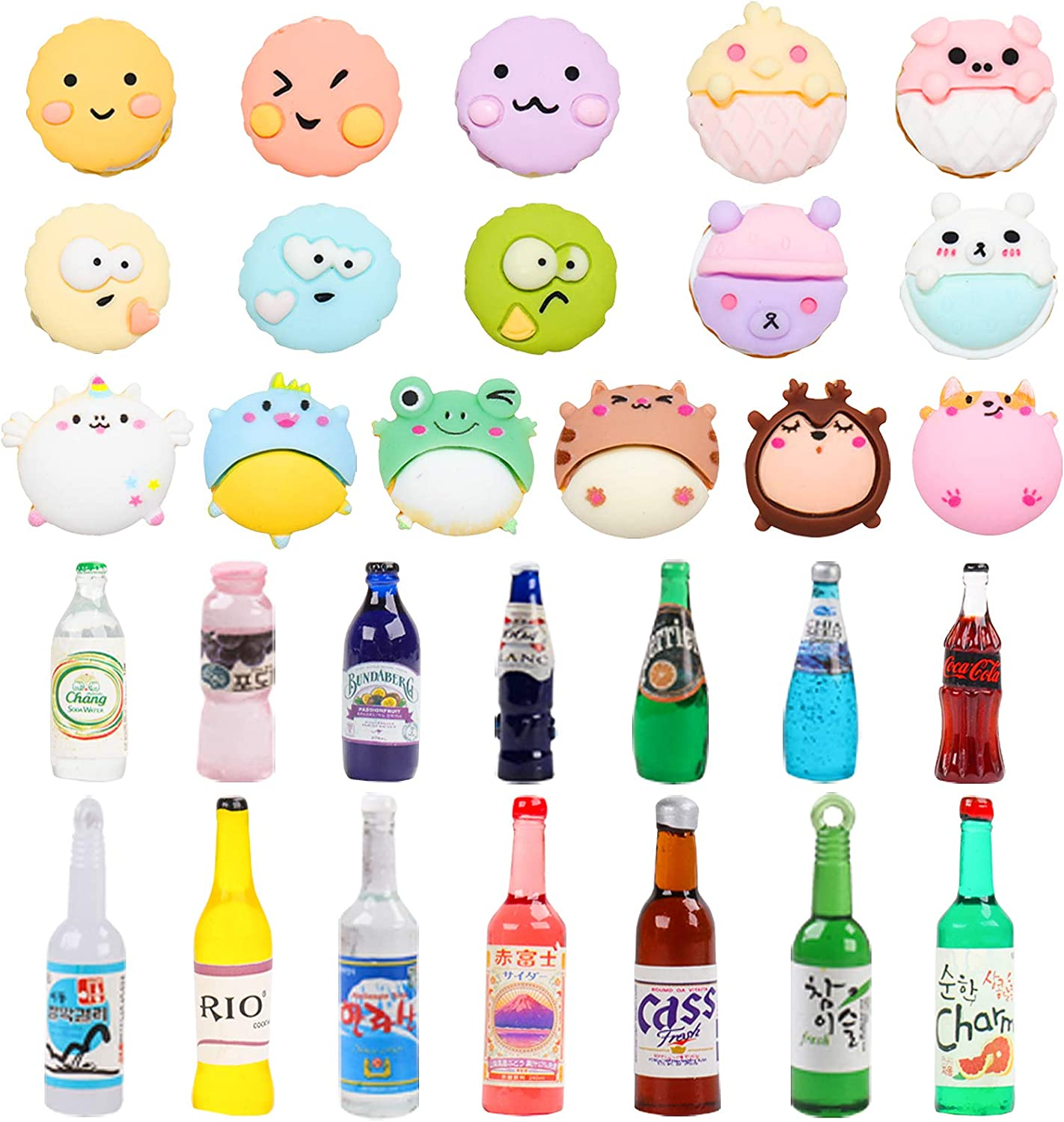 ONEST 30 Pieces Miniature Food Drinks Bottles Dollhouse Play Food Kitchen Play Game Party Toys Doll Toys Dollhouse Toys, Macaroon and Drinks