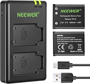 Neewer NP-45 NP-45A NP-45B NP-45S Replacement Battery Charger Set Compatible with Fujifilm INSTAX Mini 90 FinePix XP50 XP60 XP70 XP80 XP90 XP120 XP130 XP140 T550 T560 JX500 JX520 (2-Pack, 1200mAh)