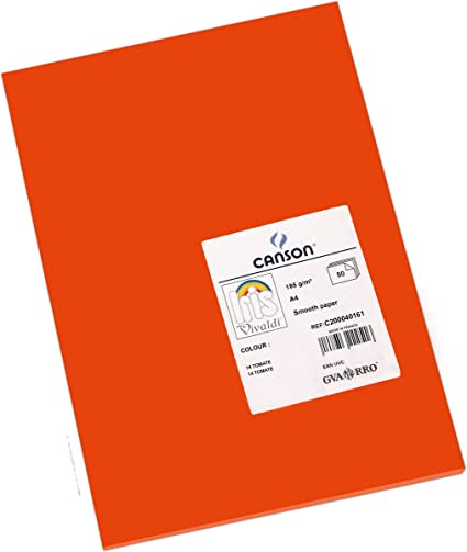 Oferta amazon: Canson Iris - Cartulina, 50 Unidades, Color Tomate