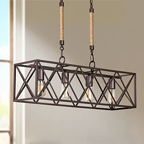 Barron Coffee Bronze Rectangular Island Pendant Chandelier 40 Wide Rustic Farmhouse 4-Light Fixture for Kitchen Dining Room – Franklin Iron Works