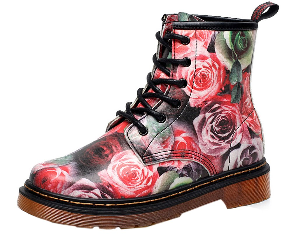 iDuoDuo Kids Girls Sweet Flower Martin Boots Waterproof Lace up Dress Combat Boots Pink 4.5 M US Big Kid