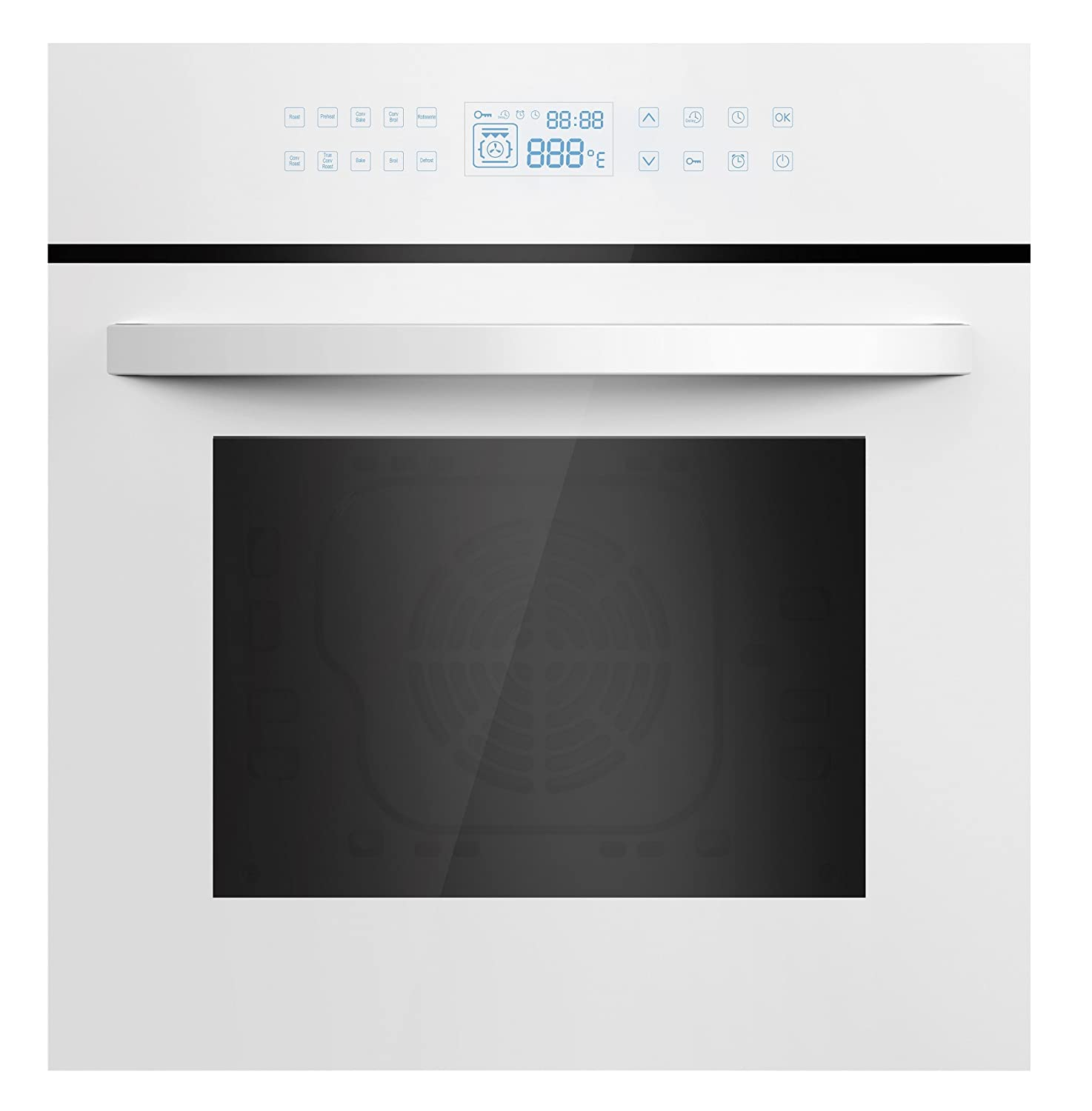 "Empava 24"" White Tempered Glass LED Digital Touch Controls Electric Built-In Single Wall Oven EMPV-24WOC12"