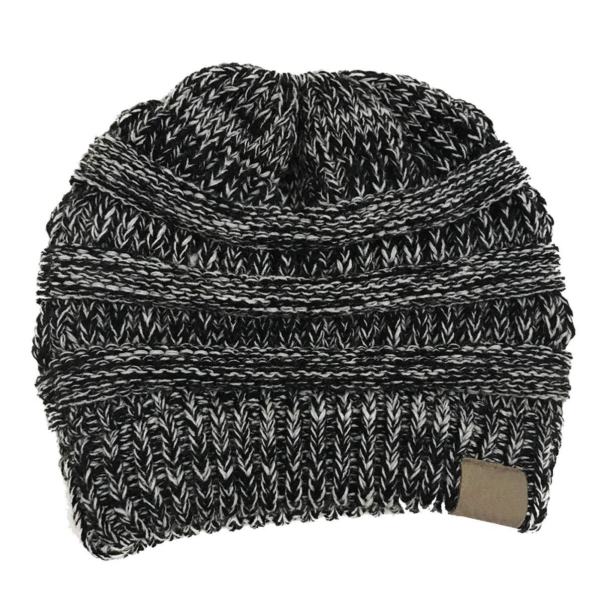 Aikowener Chapeau tricot/é Dames /épaissir avec des Tresses Trou Bonnet /écharpe en Tricot Filles Bonnet dhiver
