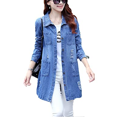 79d58e2930 Rising On Plus Size 5XL Denim Jacket Women Fashion Long Sleeve Jeans Coat  Female Casual Ripped Denim Jacket Tops at Amazon Women s Coats Shop
