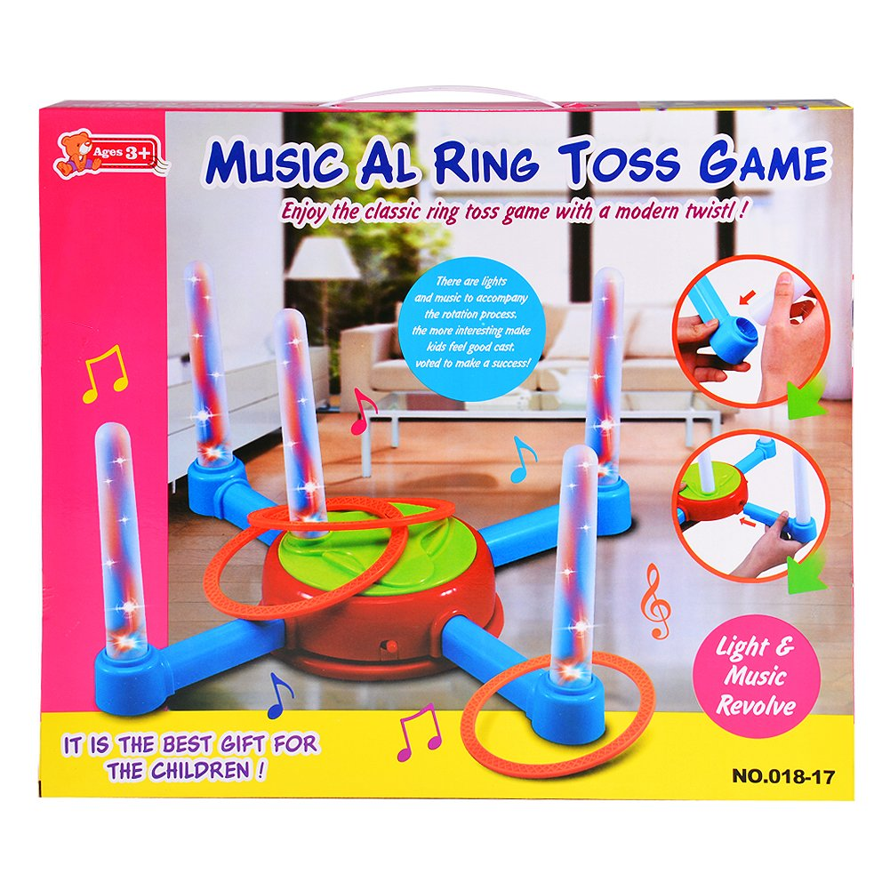 ETbotu Electric Rotating Ring Toss Game with Lights and Music for Kids Best Gifts
