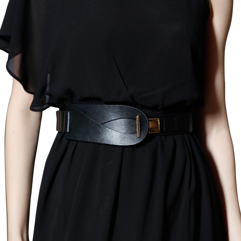 Wide Black Genuine Cowhide Ladies Leather Belt