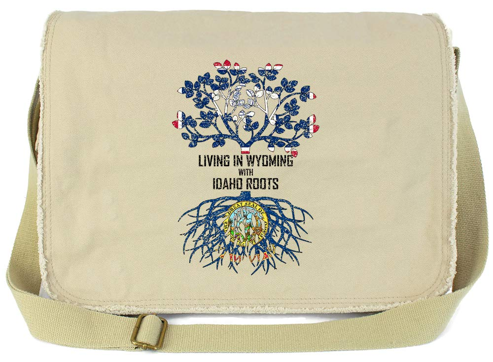 Tenacitee Living In Wyoming with Idaho Roots Grey Brushed Canvas Messenger Bag