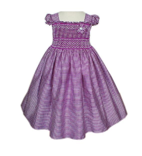 Amazon.com: carouselwear seda morado niñas Smocked vestido ...
