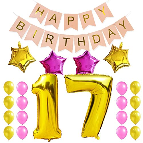 KUNGYO Sweet 17Th Birthday Party Decorations Kit Pink Happy Brithday BannerNumber 17 Golden