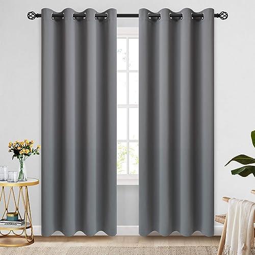 COSVIYA Grommet Room Darkening Grey Curtains 96 inch Long