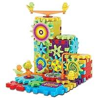 babyGreen Set di costruzione di ingranaggi,Giocattolo educativo per bambini di 3-7 anni Multi colori e forme Puzzle 81 Pezzi Regali di Natale