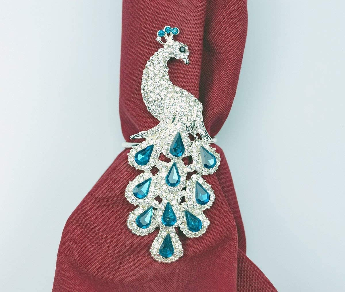 Yacanna Peacock Napkin Rings for Christmas, Holidays, Dinners, Parties - Set of 4 Napkin Holders