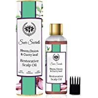 Seer Secrets Hair Oil : Neem, Onion & Curry Leaf Restorative Scalp Oil │Anti Hairfall, Anti Dandruff, Anti Thinning (200 ml)