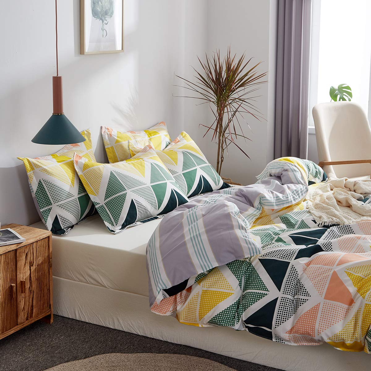 Uozzi Bedding 3 Pieces Colorful Duvet Cover Set Queen Green Navy Yellow Orange Cubes Pattern Microfiber Comforter Cover with Ties and Zipper Morden Style Adult 3PC Bedding Set Not a Comforter