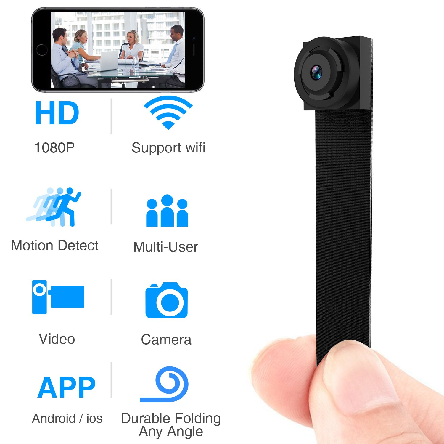 Spy Hidden Camera, Wireless Wi-Fi Camera 1080P APP Mini Portable Covert Security Cam Motion Detection for iOS/Android Mobile Phone (2019 Version) (Mini) by WBESEV