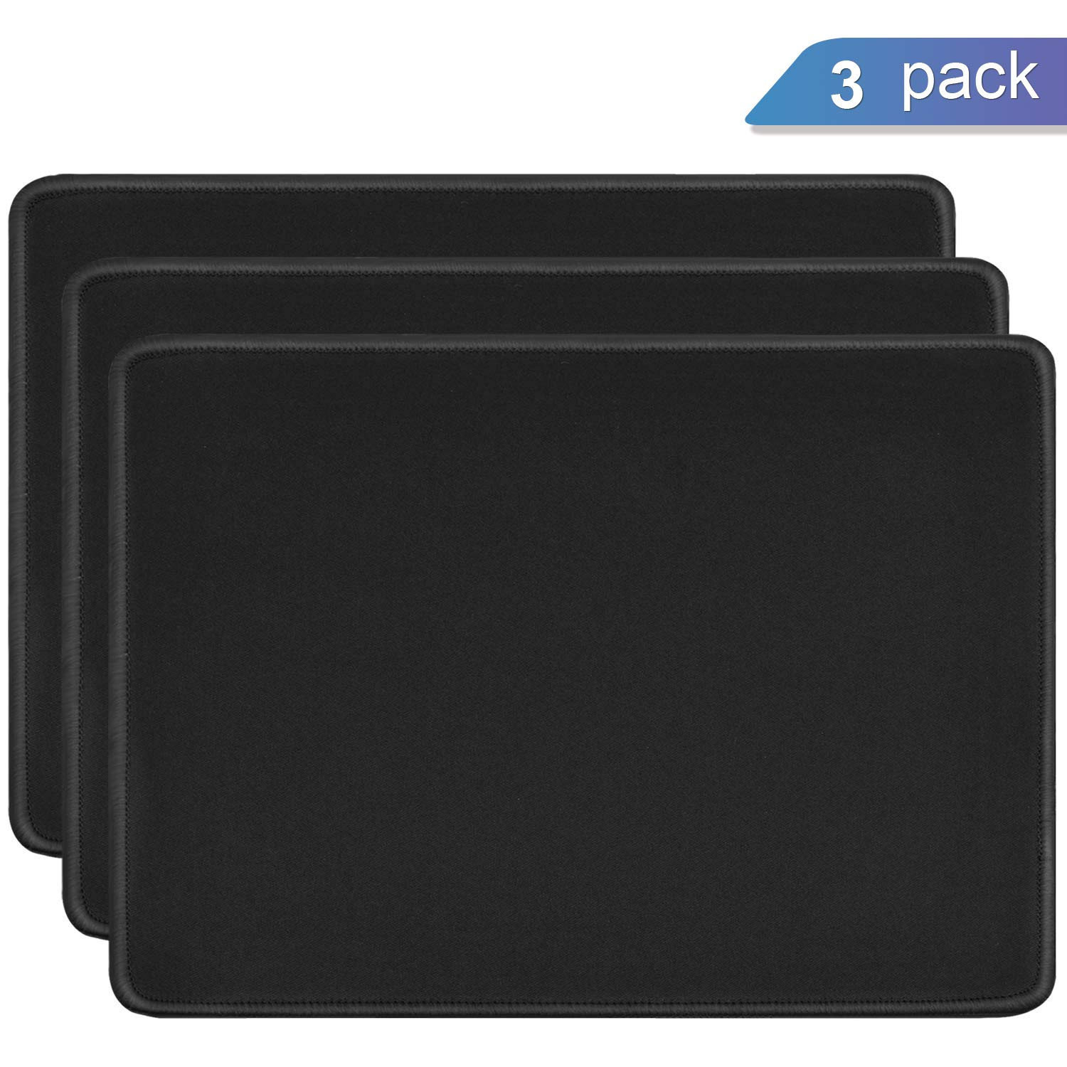 Mouse Pads, Ktrio Large Gaming Mouse Pad with Non-Slip Rubber Base Mouse Mat Waterproof Mousepad with Stitched Edges for Logitech VicTsing Razer Pictek Mouse 14 x 11 x 0.12inch 3mm Thick Black 3 Pack