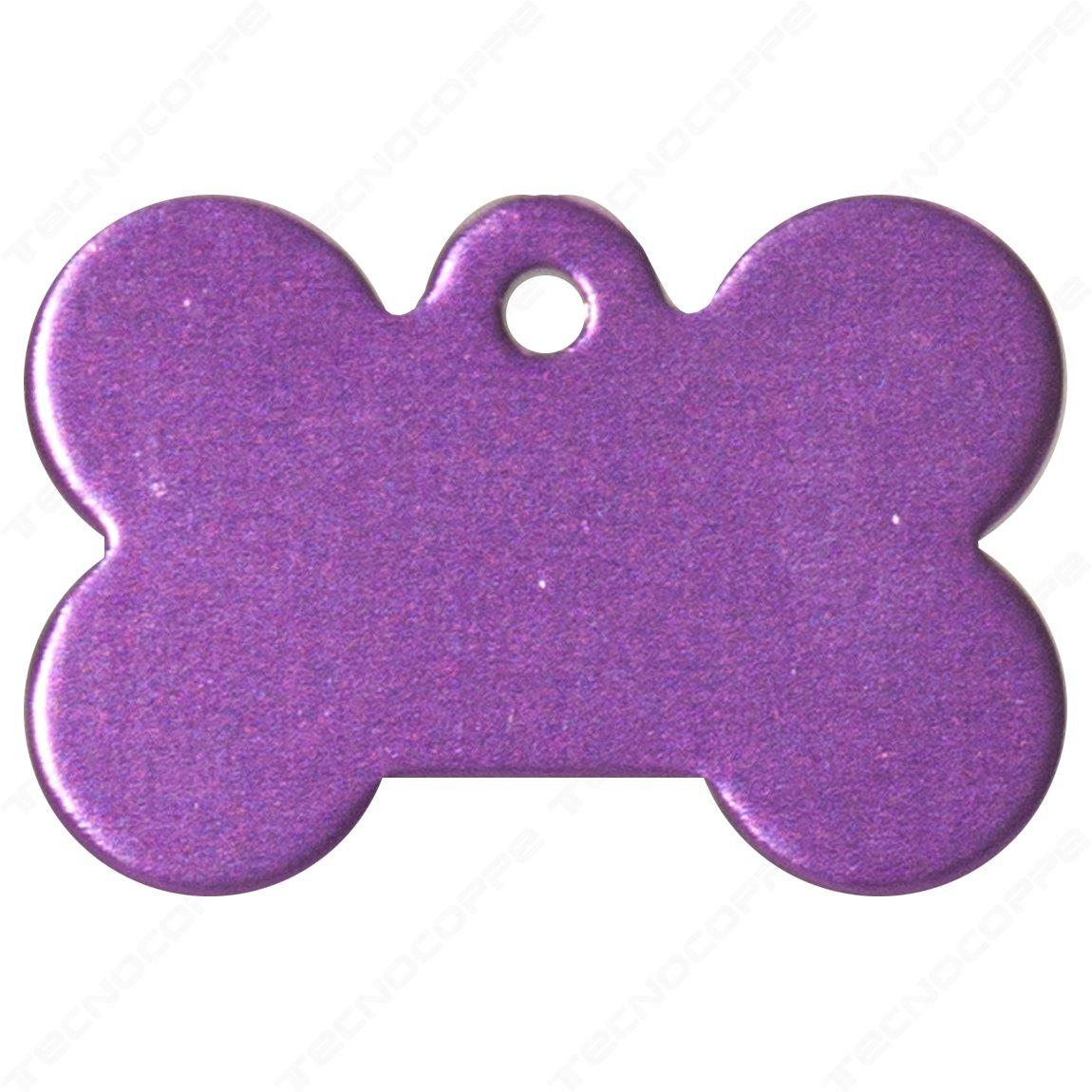 Medalla Morado para perro modelo hueso grabado personalizada tecnocoppe