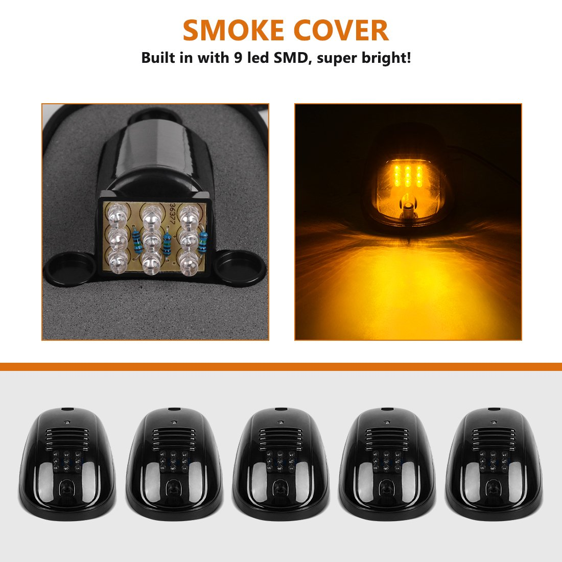 3pcs Smoked Cover Cab Roof Top Marker Lights White 30 Led Running Chevrolet K3500 Wiring Harness Clearance With