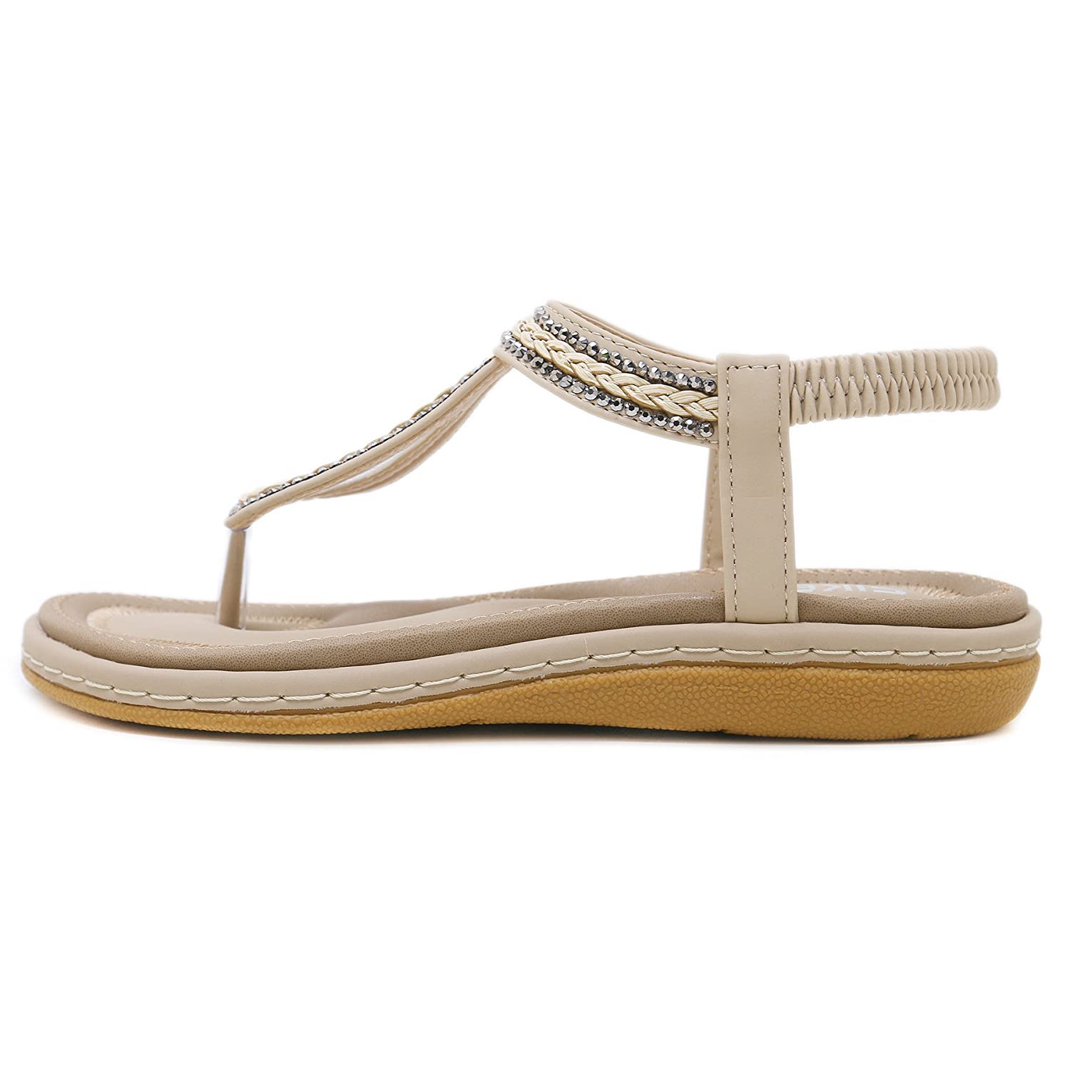 ebfc6bf120b54e BELLOO Women Summer Low Flat Heel Flip Flop Sandals Clip On Post Thong Boho  Shoes with Flowered Rhinestone  Amazon.co.uk  Shoes   Bags
