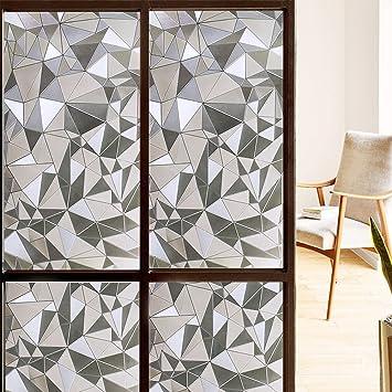 nonahesive window film decorative 3d reflective window decor privacy protection heat - Window Film Decorative