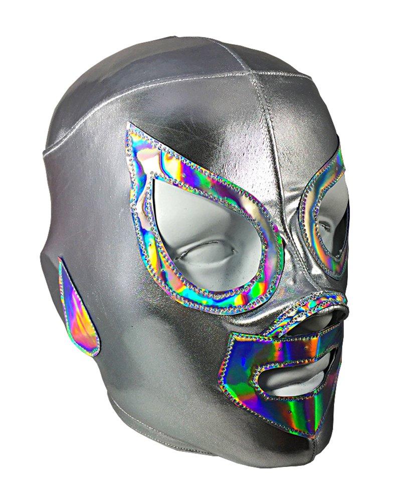 SANTO Lycra PRO Adult Lucha Libre Wrestling Mask (pro-LYCRA) Costume Wear - Silver by Mask Maniac
