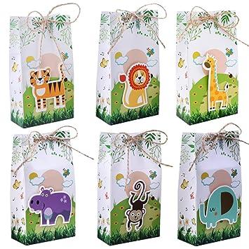 Aparty4u 12 Pezzi Upgrade Safari Animals Bags, Caja de Regalo de Papel Decoraciones para Fiestas de niños Jungla Baby Shower Suministros para Fiestas ...