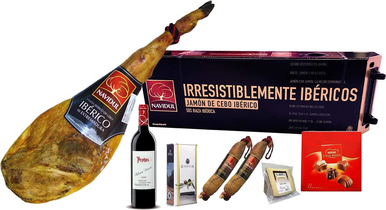 Cesta de Navidad Navidul: 1 Jamón Ibérico de 7,5 kg, 1 Botella ...