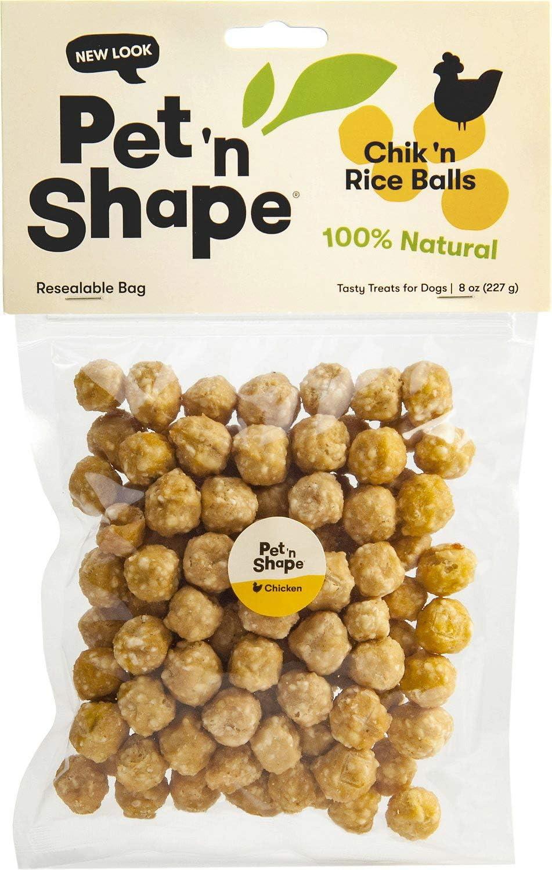 Pet n Shape Chicken Dog Treats, Chik n Rice Balls, 8 Ounce, 6 Pack