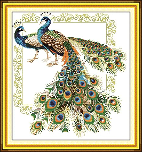 The Peacock Joy Sunday Cross Stitch Kit 11//14CT Printed Fabric Embroidery Kits