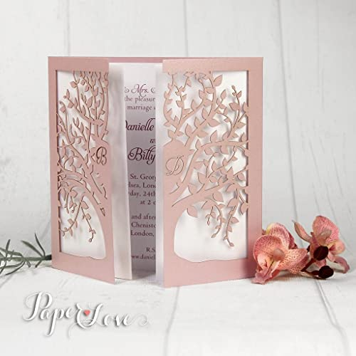 Personalised Laser Cut Tree Wedding Invitation Day Evening Gatefold With Envelopes SAMPLE Gold Purple Navy Pink