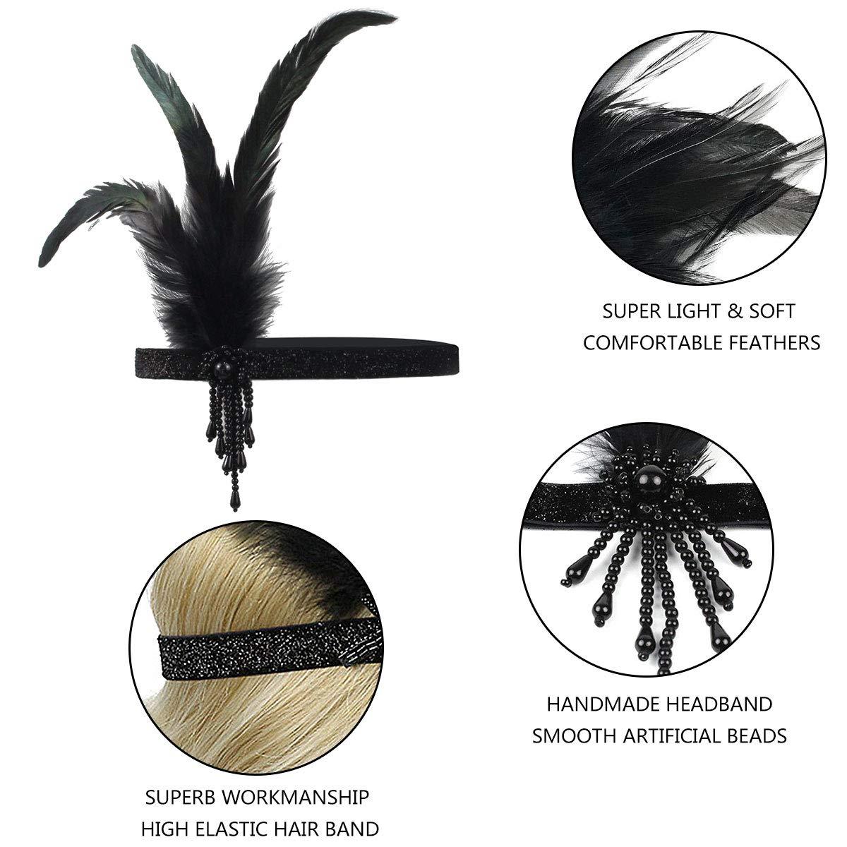 1920s Headband,1920s Headpiece KQueenStar 1920s Flapper Headpiece,1920s Feather Headband Flapper Vintage 1920 Accessories