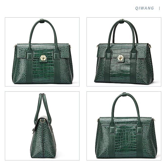 QIWANG - Bolso de piel para mujer, diseño de cocodrilo, color ...