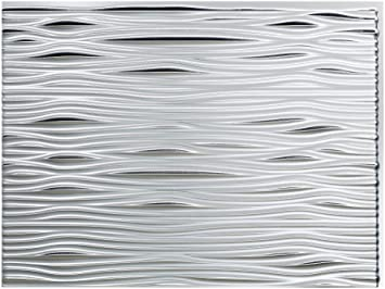 Fasade Easy Installation Waves Crosshatch Silver Backsplash Panel for Kitchen and Bathrooms 18 x 24 Panel