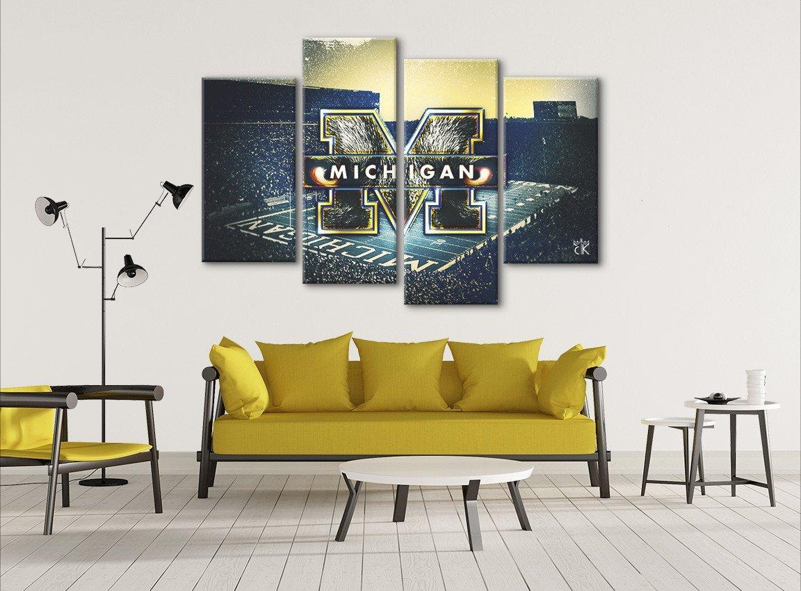 Amazon.com: Michigan Wolverines College Football Canvas || Modern ...